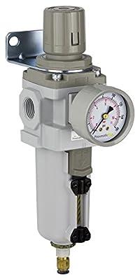 "PneumaticPlus SAW400-N04BDG-MEP Compressed Air Filter Regulator Piggyback Combo 1/2"" NPT - Metal Bowl, Auto Drain, Bracket, Gauge"