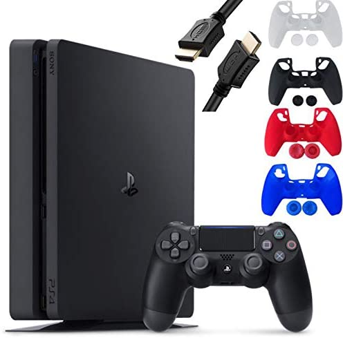 Sony Playstation 4 Console - 1TB Slim Edition Jet Black - with 1 DualShock 4 Wireless Controller - Family Holiday Gaming - iPuzzle 4 Colors Silicone Cover Skin Protector for PS4 + 3 Feet HDMI Cable
