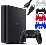 Sony Playstation 4 Console - 1TB Slim Edition Jet Black - with 1 DualShock 4 Wireless Controller - Family Holi