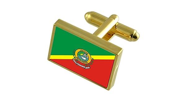 Ponto Belo City Espirito Santo State Flag Cufflinks Engraved Box