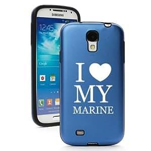 Blue Samsung Galaxy S4 S IV i9500 Aluminum & Silicone Hard Back Case Cover KA463 I Love My Marine