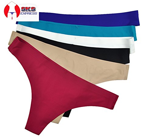 6 Pack/Colors Women's Seamless Nylon Elastic Spandex Thong by SKS Express (US XL/ Asia - Elastic Thong