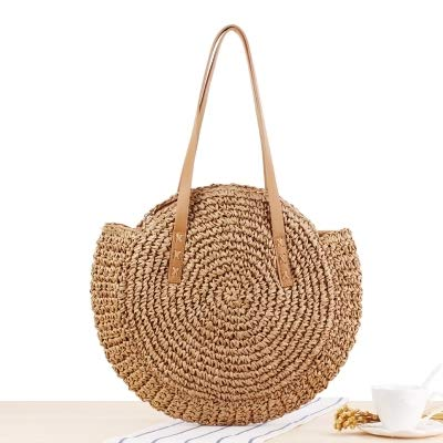 (Round Straw BeacHandbag Vintage Hand Made Woven Shoulder Bag Raffia Circle Rattan Bohemian Summer Vacation Casual Bags Light Brown)