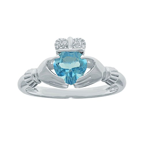 2heart Valentine Spl Ladies 925 Sterling Silver Blue Topaz CZ Heart Irish Claddagh Ring
