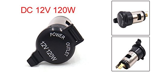 uxcell 12V 120W Stainless Steel Motorcycle Car Ciagarette Lighter Socket Adapter Outlet a17052600ux0597