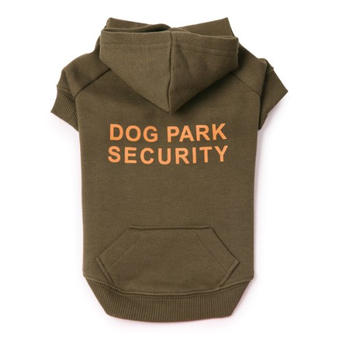 Casual Canine Cotton Dog Park Security Print Dog Hoodie, X-Small, 10-Inch, Chive
