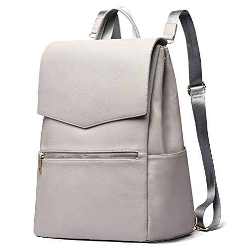 HaloVa Diaper Bag, Baby Nappy Backpack, Premium Leather Women's Travel Bag, Mommy Maternity Shoulder Bag with Baby Changing Pad, Stroller Straps and Milk Bottle Pouch, Light Grey, Large