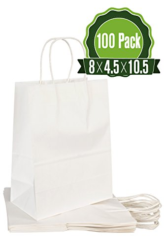 White Kraft Paper Gift Bags Bulk with Handles 8 X 4.5 X 10.5 [100Pc]. Ideal for Shopping, Packaging, Retail, Party, Craft, Gifts, Wedding, Recycled, Business, Goody and Merchandise Bag]()