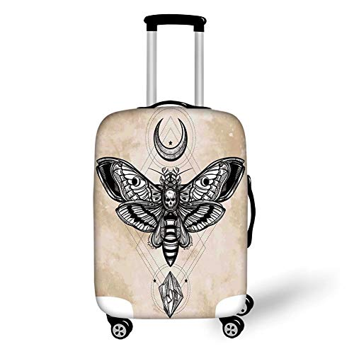 Travel Luggage Cover Suitcase Protector,Fantasy House Decor,Dead Head Hawk Moth with Luna and Stone Spiritual Magic Skull Illustration,Black White Cream,for TravelS 19x27.5Inch ()