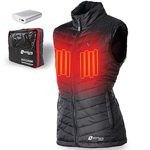 (Venture Heat Women's Heated Vest with Battery 12 Hour - The Roam Puffer Heated Vest for Women (X-Small, Black))