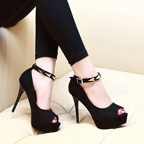KHSKX Nouveau Bouche Talon Boucle Talons Des Talon Fine Haut À Chaussures Printemps Chaussures Sexy black De Unique Noire Daim Étanches À 1rwqP5rTx