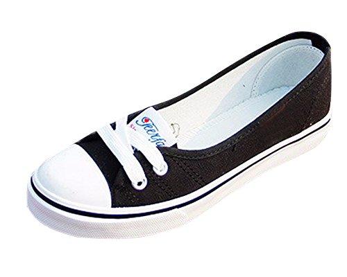 Minetom Mujer Chicas Moda Lona Zapatos Punta Redonda Tacón Plano Espadrilles Ocio Zapatos Negro