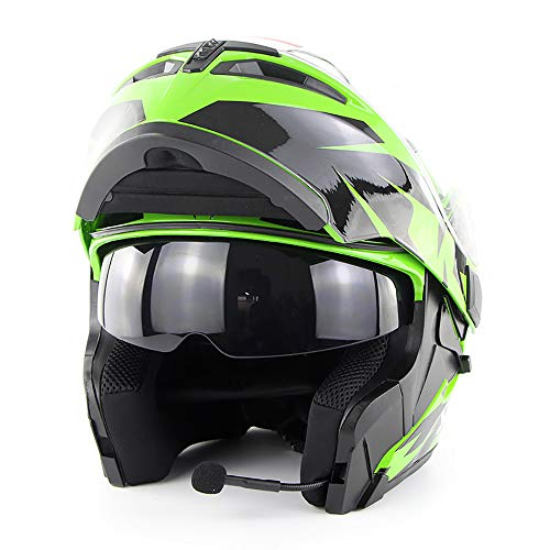 ZHYY Motorcycle Helmet Bluetooth Flip Up Full Face Motorbike Helmet with Bluetooth Headset Antifogging Dual Lens D.O.T Approved Man Women for - Strap Goggle Quick Mount