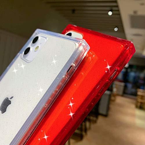 iPhone 11 Case,Tzomsze Glitter Clear Square Sparkle Bling Case Cute Slim Silicone Transparent Reinforced Corners TPU…