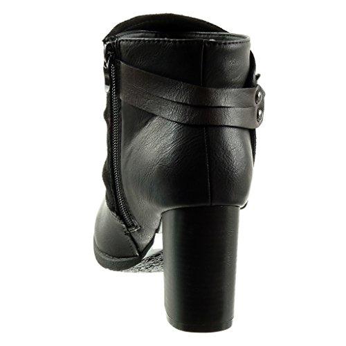 Angkorly - Chaussure Mode Bottine cavalier motard couverte femme clouté boucle lanière Talon haut bloc 7.5 CM - Intérieur Fourrée Noir 3ux63