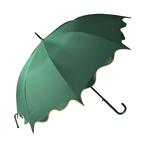 Green Auto Open Windproof Umbrella Flouncing Rain Umbrella Princess Dome Parasol Long by Umbrella Compact