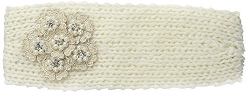 David & Young Women's Solid Headwrap with Crochet Flower, Ivory, One Size