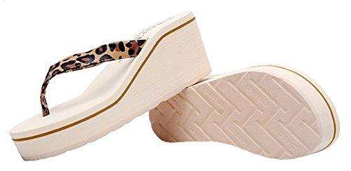 Sfnld Damesmode Zomer String Flip Flop Platform Strand Sandalen Slippers Leopard