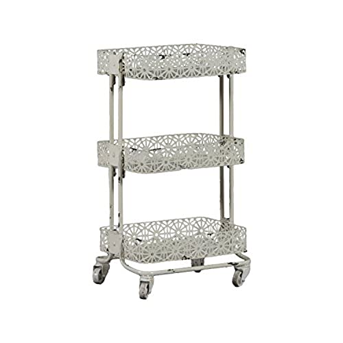 linon 3 tier cart metal cream - Bathroom Cart