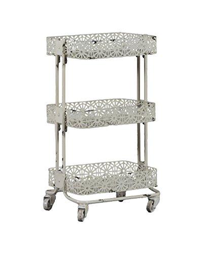 """Linon AMME3TIERC1 3-Tier Cart Metal, 29.5"""" x 17"""" x 11"""", Cream from Linon"""
