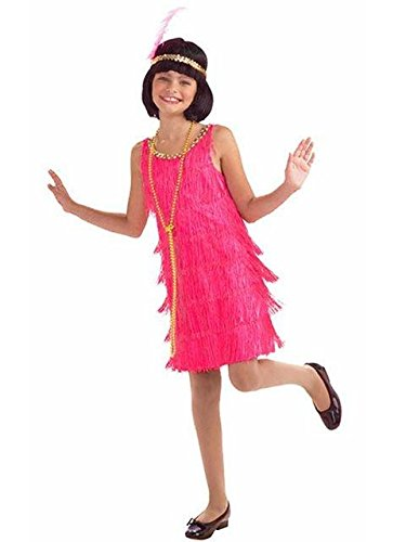 Girl's Hot Pink Flapper Costume M (Pink Flapper Kids Costumes)