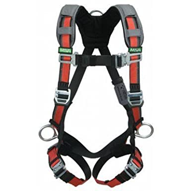 Hip and Chest D-Rings Tongue Buckle Leg Straps Shoulder Padding Qwik-Connect Chest Strap MSA 10105939 EVOTECH Harness with Back X-Large