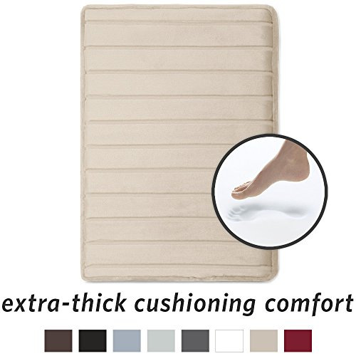 MICRODRY, Extra Thick Memory Foam bath mat, with GripTex skid-resistant base, Linen, 17 X 24