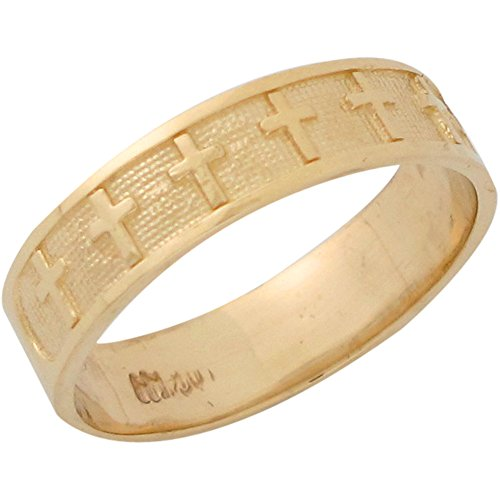 10k Yellow Gold Latin Cross Christian Solid Band Religious Ladies Ring (10k Ring Religious)
