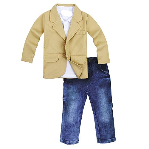 Toddler Baby Boys Gentleman 3 Pieces Shirt+Jacket+ Jeans Wedding Infant Pants Clothing Sets (3-4Years, Khaki) ()