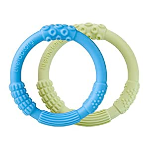 Lifefactory Multi-Sensory Latex and BPA-Free Silicone Teething Ring 2-Pack, Sky and Spring Green