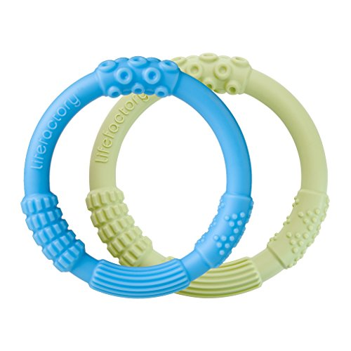 Lifefactory Multi-Sensory Latex and BPA-Free Silicone Teething Ring 2-Pack, Sky and Spring Green (Cart Refrigerated)