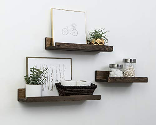 Del Hutson Designs Rustic Luxe Floating Shelves, Shallow Set of 3, USA Handmade (Dark Walnut)