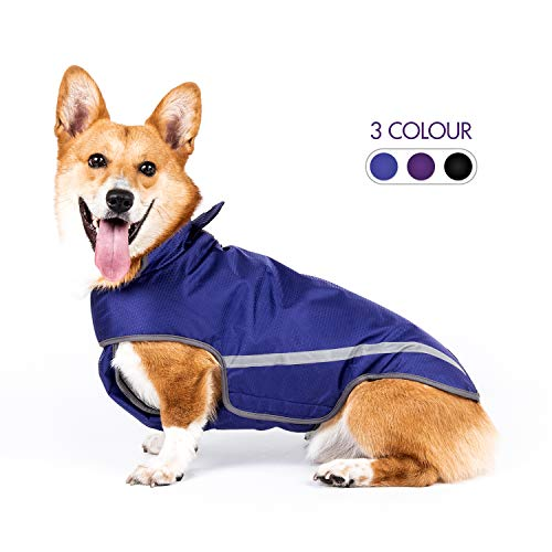 SENYE PET Dog Raincoat Lightweight Waterproof Clothes Ajustable Pet Dog Rain Jacket Poncho with Visibility Safety Strip Reflective & Leash Hole Dog Vest for Small Medium Large Dogs Puppy (M, Blue)