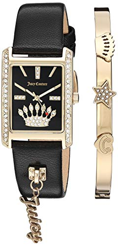 (Juicy Couture Black Label Women's  Swarovski Crystal Accented Gold-Tone and Black Leather Strap Watch and Bracelet Set)