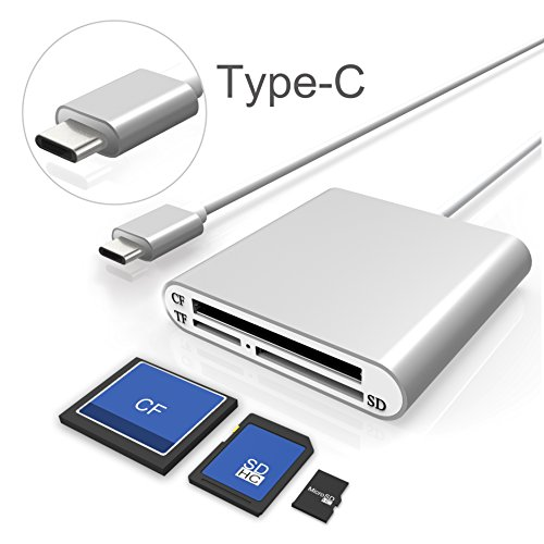 Cateck Aluminum Superspeed USB Type-C Multi-in-1 3-Slot Card Reader for CF/SD/TF/Micro SD for iMac, MacBook Air, MacBook Pro, MacBook, Mac Mini, PCs and Laptops (Card Cf Wireless)
