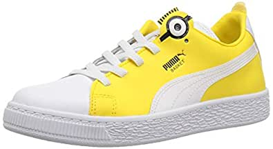 PUMA Unisex-Child Boys 36656201 Minions Basket Bs Slip-on White Size: 1 M US Little Kid