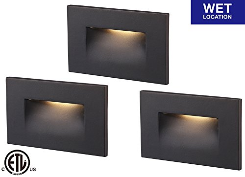 Cloudy Bay LED Step Light,3-Pack,3000K Warm White 3W 100lm,Indoor/Outdoor Stair Light,Oil Rubbed Bronze by Cloudy Bay