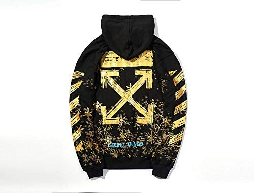 Snowflake Print Popular Large Size Loose Casual Men's Sweatshirts and Hoodies Hoodies-Black and Golden_The_Black and Golden_The