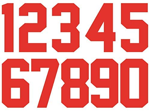 0 to 9 Numbers 8 inch Tall for Sports T-Shirt Jersey Iron on Heat Transfer Numbers (red)