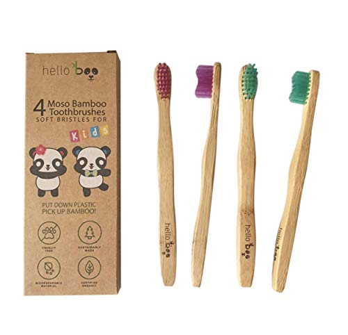 Bamboo Toothbrush for Kids 4-Pack Biodegradable Tooth Brush Set - Organic Eco-Friendly Moso Wooden Bamboo with Ergonomic Handles & Soft BPA Free Nylon Bristles | By HELLO BOO (kids)