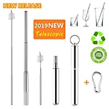 Reusable Telescopic Straw, 2019 New Stainless Steel Collapsible Drinking Straw, Portable Metal Straw Kit with Aluminum Case & Cleaning Brush & Carabiner, Perfect for Travel, Home, Office, Outdoor