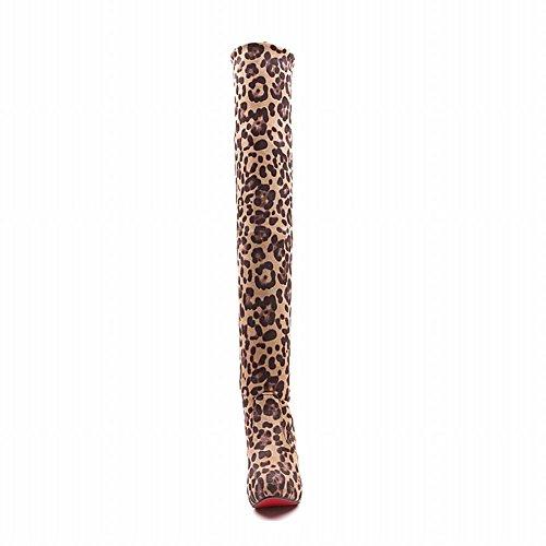 Latasa Dames Sexy Elastisch & Verstelbare Boot Shat Hoogte Platform Stiletto Hoge Hak Over Pull-on De Knie Laarzen Beige (leopard Print)