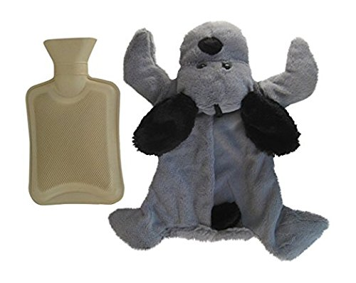 Hot Water Bottle with Gray Plush Puppy Dog Cover