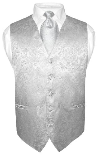 Vesuvio Napoli Men's Paisley Design Dress Vest & Necktie Silver Grey Color Neck Tie Set sz L