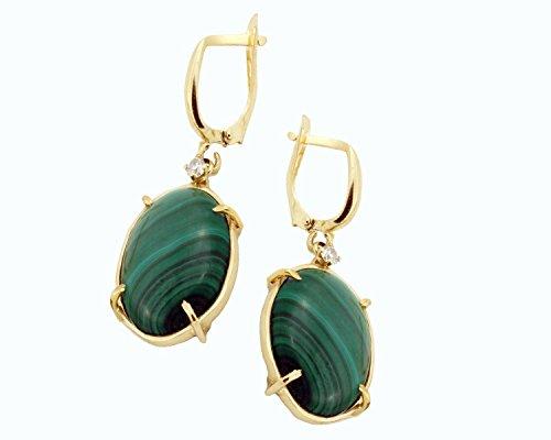14k yellow gold Malachite earrings with small 0.1 Ct diamonds bohemian jewelry for women