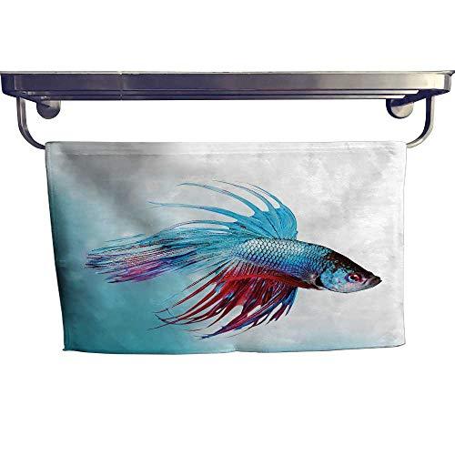"Hand Towel Aquarium,Siamese Fighting Betta Fish Swimming in Aquarium Aggressive Sea Animal,Sky Blue Dark Coral Microfiber towels for body W 28"" x L 14"""