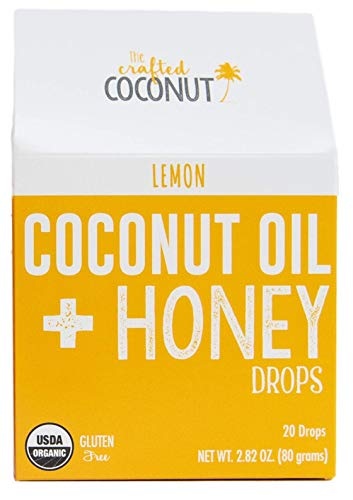The Crafted Coconut | Organic Cough Drops | Coconut Oil and Honey, Soothe and Coat the Throat- Lemon