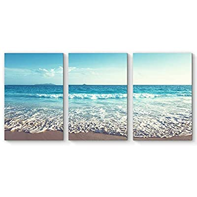 Fascinating Visual, it is good, for Living Room Bedroom Home Artwork Paintings Romantic Beach x 3 Panels
