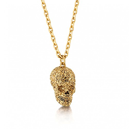 (Disney Couture Pirates Of The Caribbean Skull Necklace - Yellow Gold Plated)