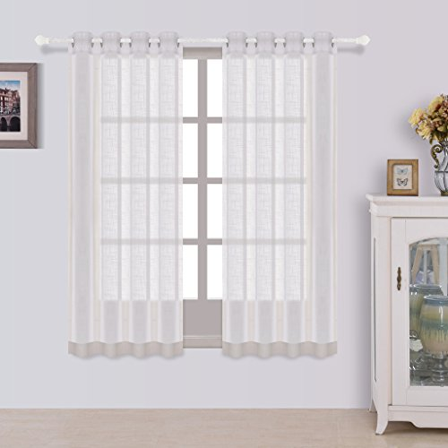 Best Dreamcity Set of 2 Panels Linen Look Semi Sheer Curtains For Bedroom, W52 by L63 Inch, White